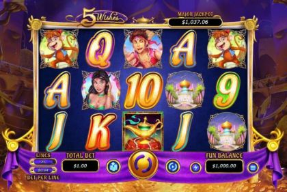 Slot Reels - 5 Wishes-RTG Mobile Slot Game