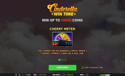 Info, Bonus 1 - Cinderella Win Time-StakeLogic Mobile Slot Game