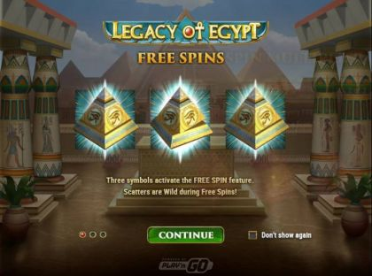 Free Spins Feature - Legacy of Egypt-Play'n GO Mobile Slot Game