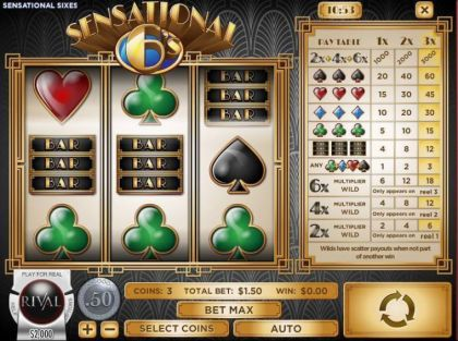 Slot Reels - Sensational Sixes-Rival Mobile Slot Game