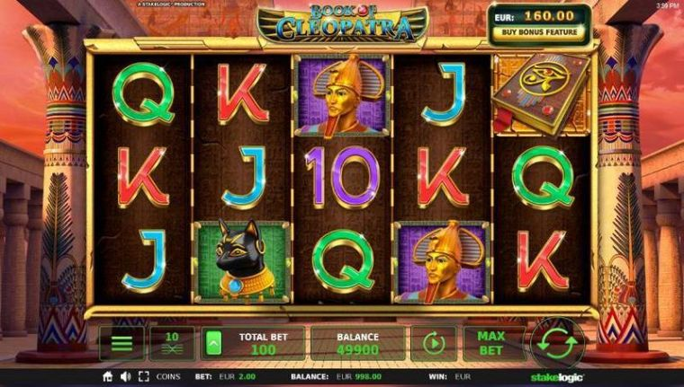 Slot Reels at Book of Cleopatra 5 Reel Mobile Real Slot created by StakeLogic